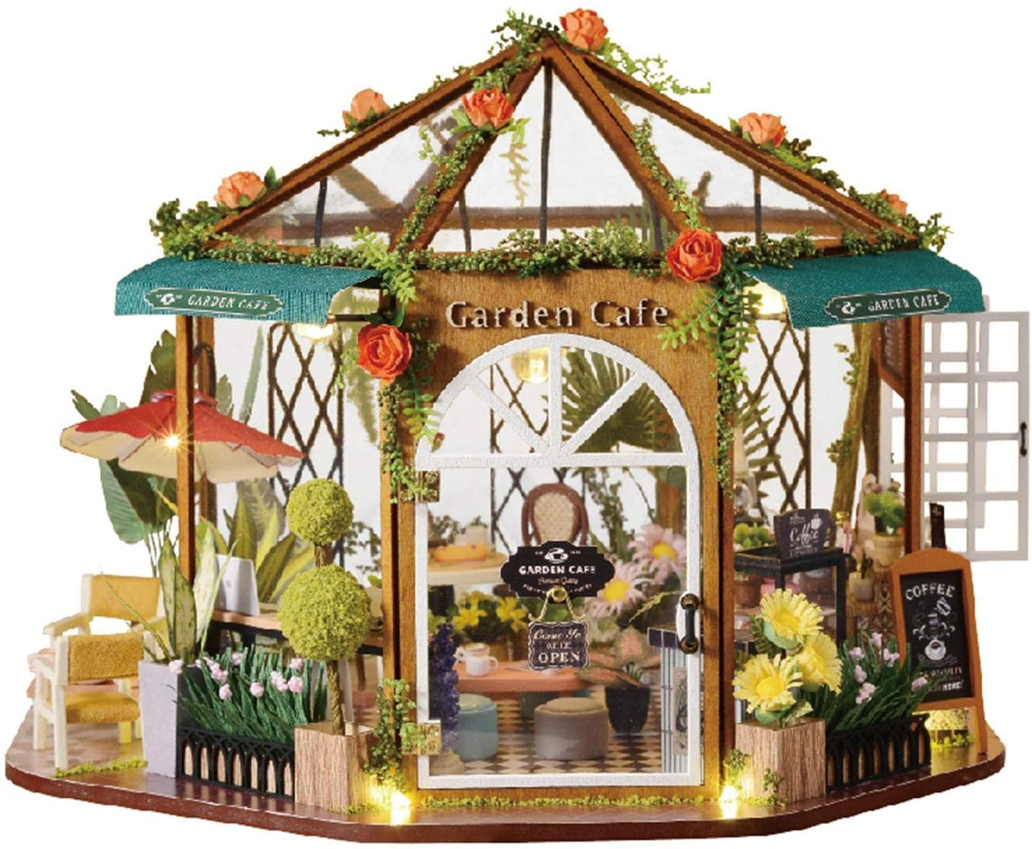 shuaiyin Dollhouse Miniature with Furniture, DIY Wooden Dollhouse Kit, Dust Proof Cover and LED Light,1:24 Scale Creative Room, Model Creative Gifts