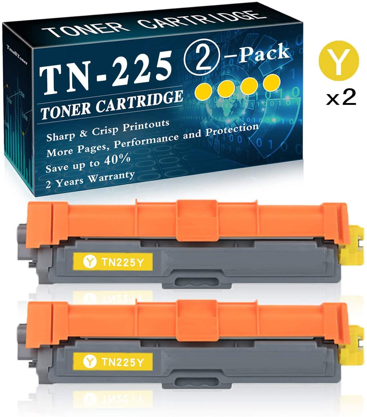 2-Pack Yellow TN-225 Toner Cartridge Replacement for Brother Laserjet HL-3140CW HL-3150CDN MFC-9130CW MFC-9330CDW DCP-9015CDW DCP-9020CDN Printer Printer,by TmallToner