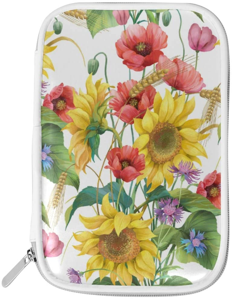 HAIIO Pencil Bag Summer Poppy Sunflower Floral Leaves Pen Case School Supplies Large Capacity Cosmetic Makeup Bag with Zipper for Women