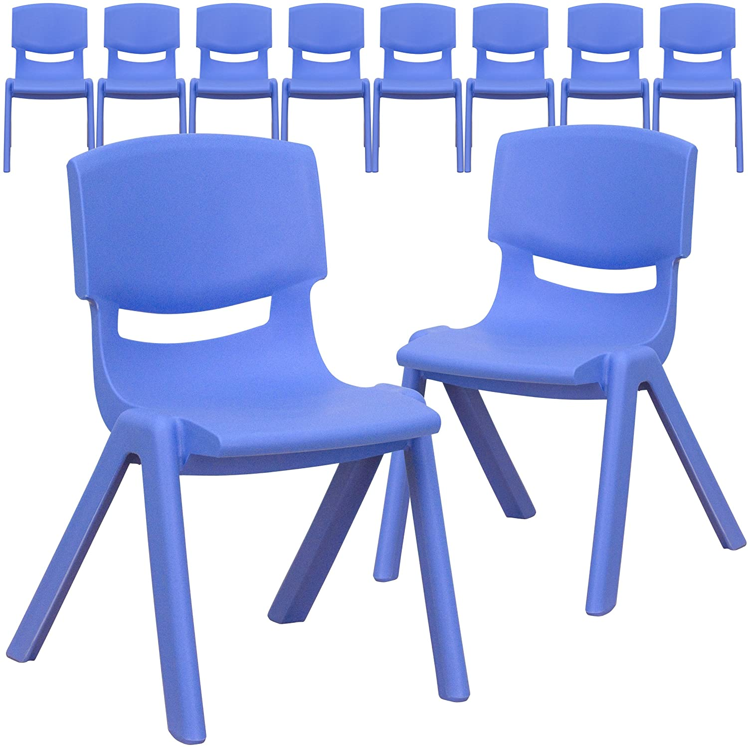 Flash Furniture 10 Pk. Blue Plastic Stackable School Chair with 12'' Seat Height