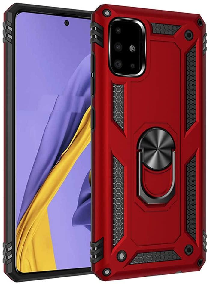 QIVSTAR Case for Samsung Galaxy A51 4G/ M40S Sturdy TPU Case Case with Metal Ring Holder Dual Layers of Shockproof TPU Case for Samsung Galaxy A51 4G Red MQ