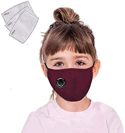 Reusable Face Cover Mask with Breathing Valve Filter Washable Cotton Mouth Protective Fabric Cloth Bandanas for Women Men Kids Burgundy
