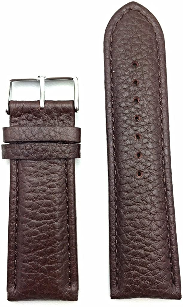 26mm Dark Brown Genuine Leather Watch Band | Shrunken Buffalo Grained, Medium Padded Replacement Wrist Strap That Brings New Life to Any Watch (Mens Standard Length)