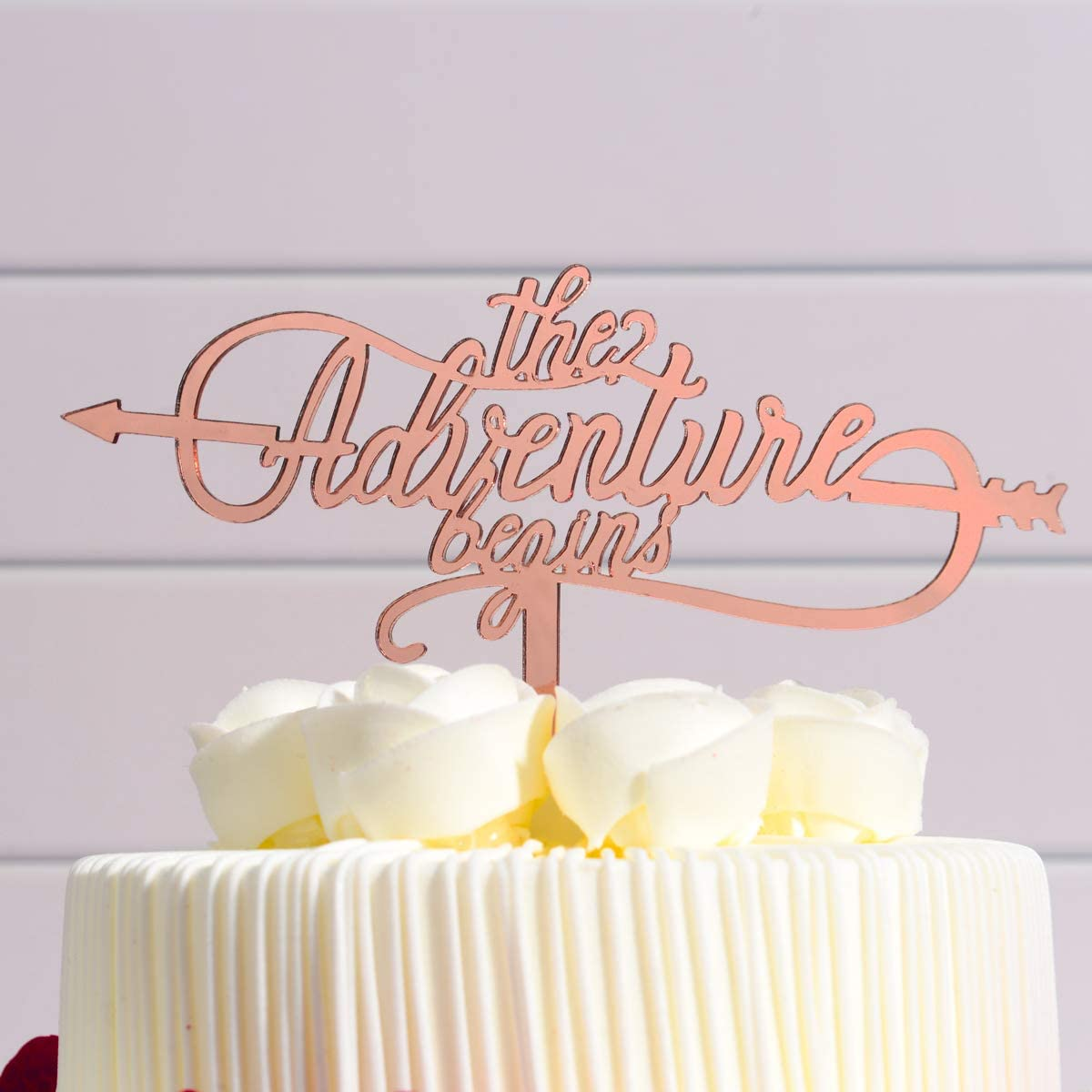 Birthday Cake Topper-The Advanture Begins, Rose Gold Cake Topper Used for Wedding & Anniversary & Birthday Party
