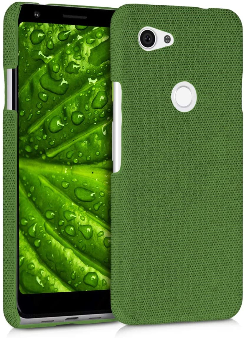 kwmobile Case Compatible with Google Pixel 3a - Fabric Protective Canvas Back Cover - Green