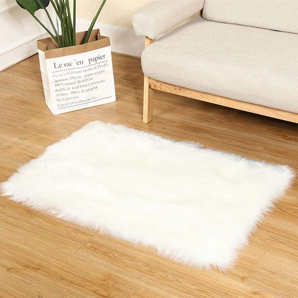 Supermee White Fur Rug White Fluffy Rug White Rugs for Bedroom Fluffy White Fuzzy Rug White Furry Rug White Faux Fur Rug White Rugs for Bedroom 2x3 Feet Rectangle ( White)