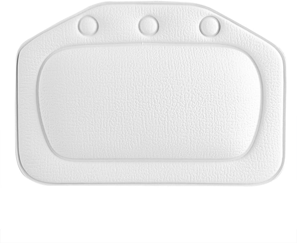 Stronerliou Soft Foam Padded Spa Bath Pillow Tub Headrest Head Neck Back Cushion Bathroom(White)