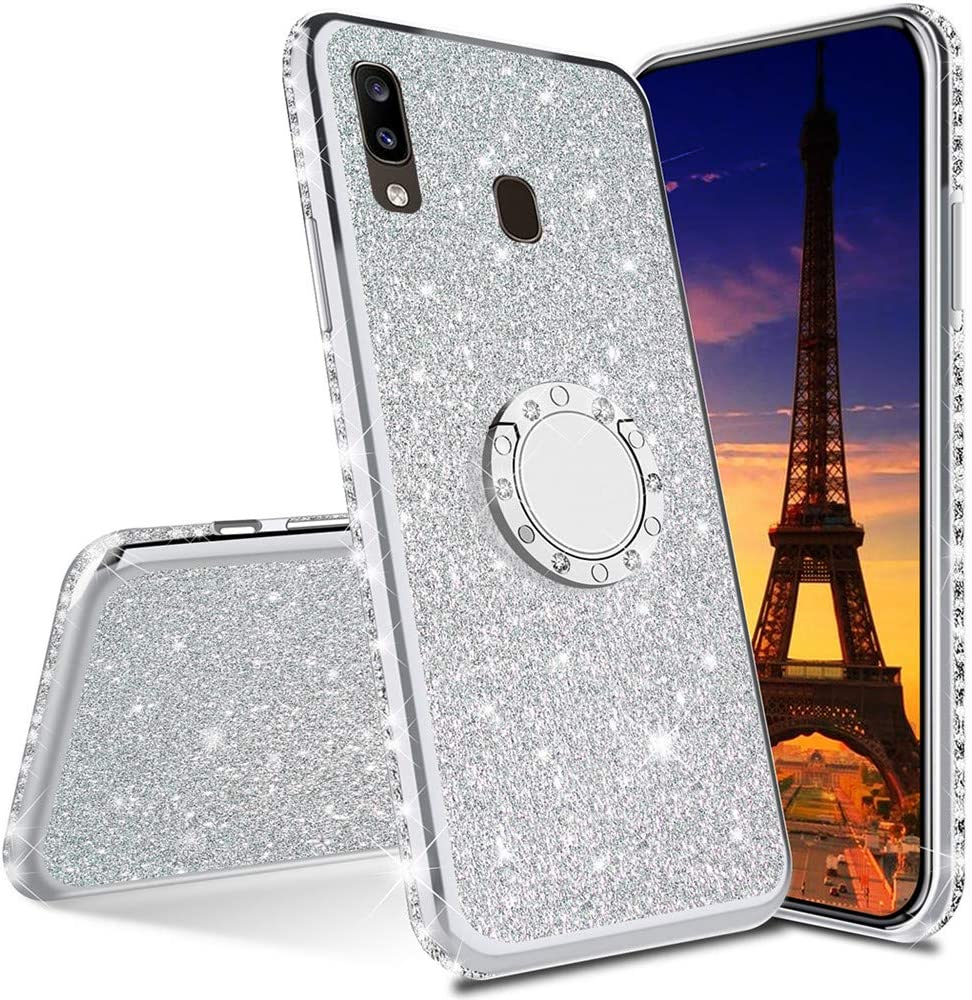 Asdsinfor Galaxy A21 Case Full Stylish Luxury Glitter with Diamond Silicon TPU Soft Cover with Ring Stand Holder Ultra-Thin Protection Case for Samsung Galaxy A21 Plating TPU Silver KDL