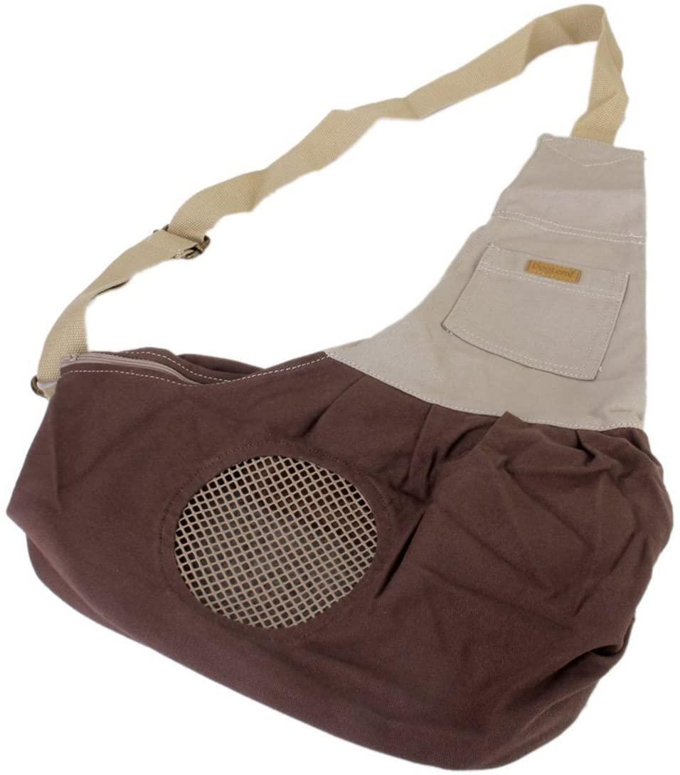 Tinksky Tiny Canvas Pet Dog Cat Carrier Sling Shoulder Bag Carrier Bag (Brown)