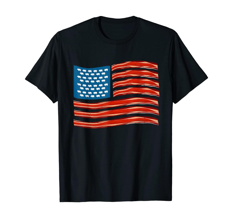 Bacon USA Flag Patriotic Bacon T-Shirt