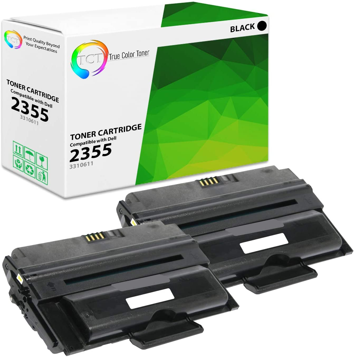TCT Premium Compatible Toner Cartridge Replacement for Dell 331-0611 Black High Yield Works with Dell 2355 Printers (10,000 Pages) - 2 Pack