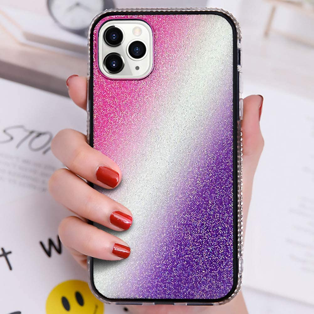 Glitter Case for iPhone 11 Pro Diamond Case,Girls Women Full Crystals Bling Rhinestone Diamonds Gradient Hard PC Back Case TPU Bumper Shockproof Slim Fit Protective Phone Case Cover,Pink+Purple