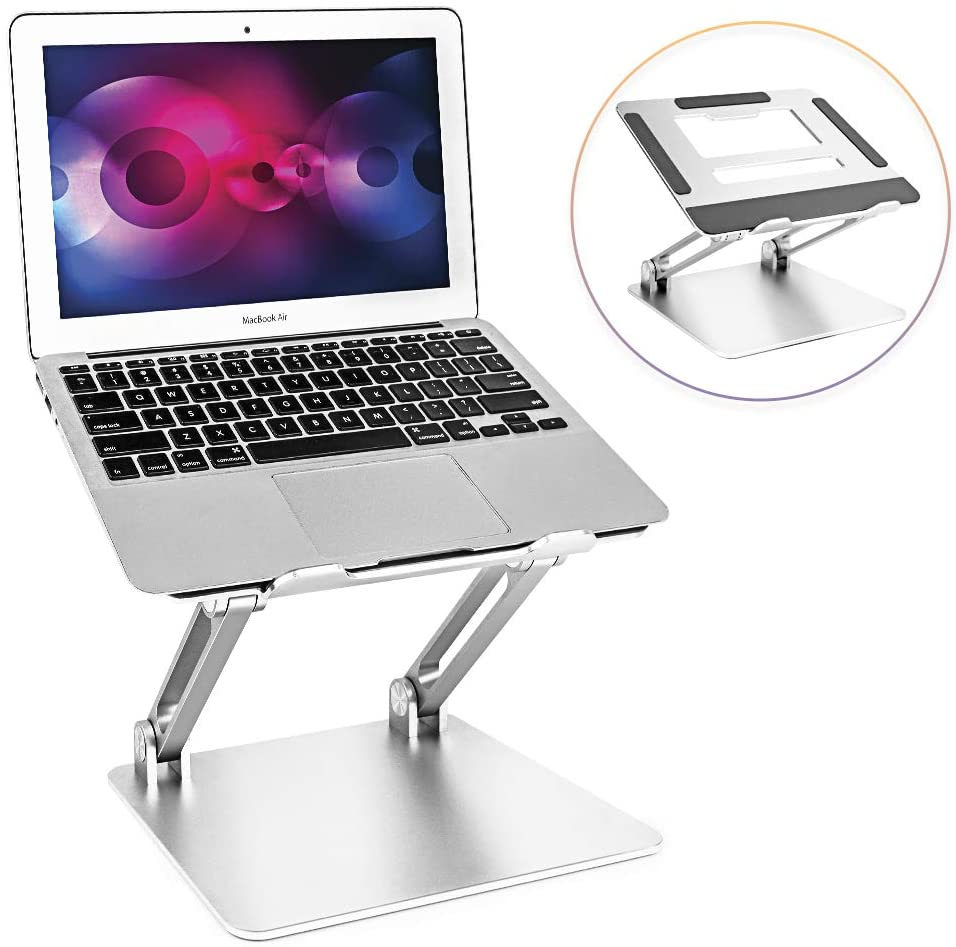 Laptop Stand, Portable Aluminum Laptop Holder, Adjustable Laptop Riser with Heat-Vent Compatible with MacBook Air, Pro, Dell, Samsung, Lenovo, More 10-15.6