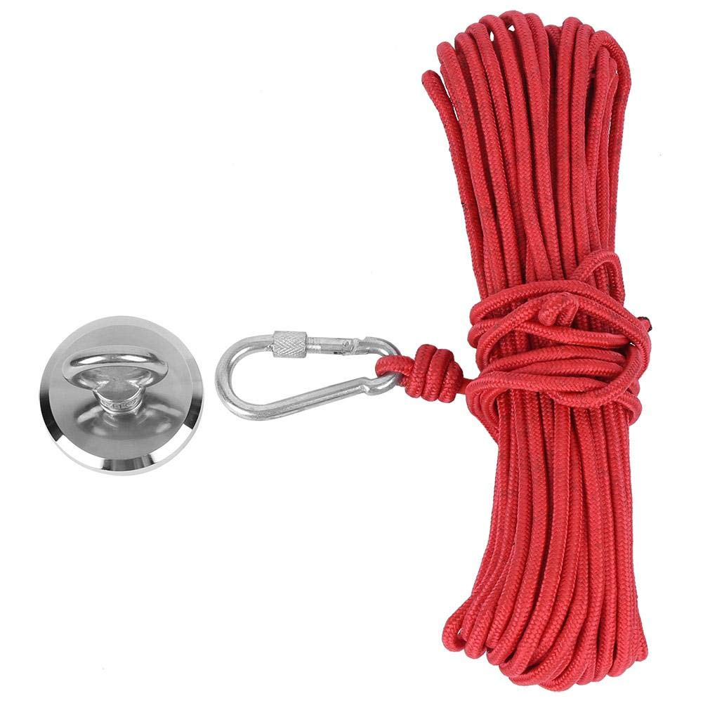 Fishing Magnet Magnetic Hook, Magnetic Hook Fishing Magnet Hardware Tool Built-in Female Thread with 20-Meter Red Rope N35 -Products Quality Assurance