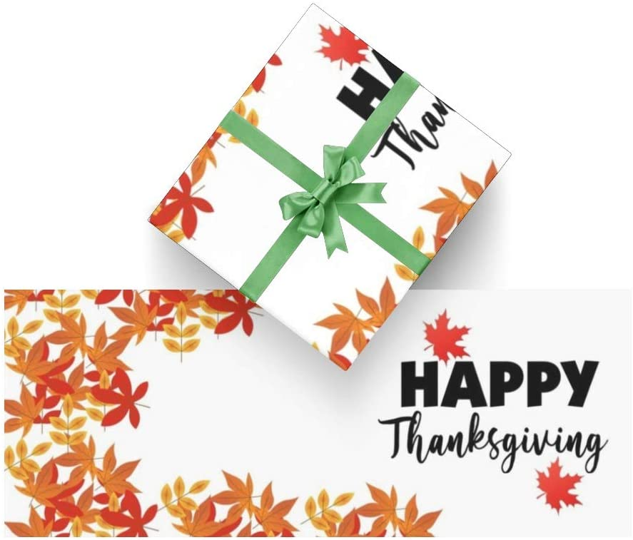 Wrapping Paper Thanksgiving Maple Leaf White for Christmas,Birthday,Valentines Day,Bridal or Baby Showers and More- 3Rolls - 58inch x 23inch Per Roll