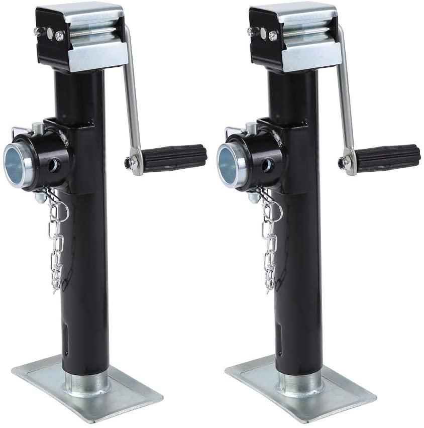 Cocoarm Drop Leg Trailer Jack, Trailer Jack Pipe Mount Side Wind Drop Leg, 2200 LBS Capacity (2 PCS)