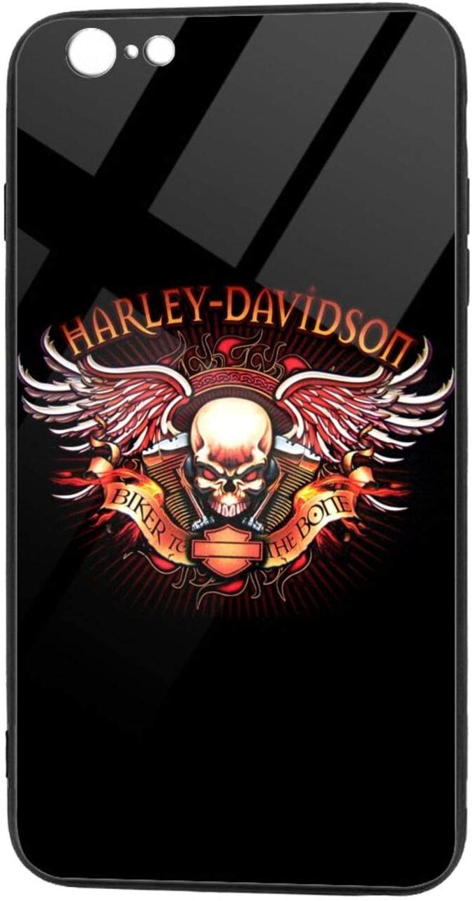 TRdY PAGE Harley Davidson iPhone X/XS TPU Glass Phone Case Tempered Glass Back Cover with TPU Frame Protective Case for iPhone X/XS