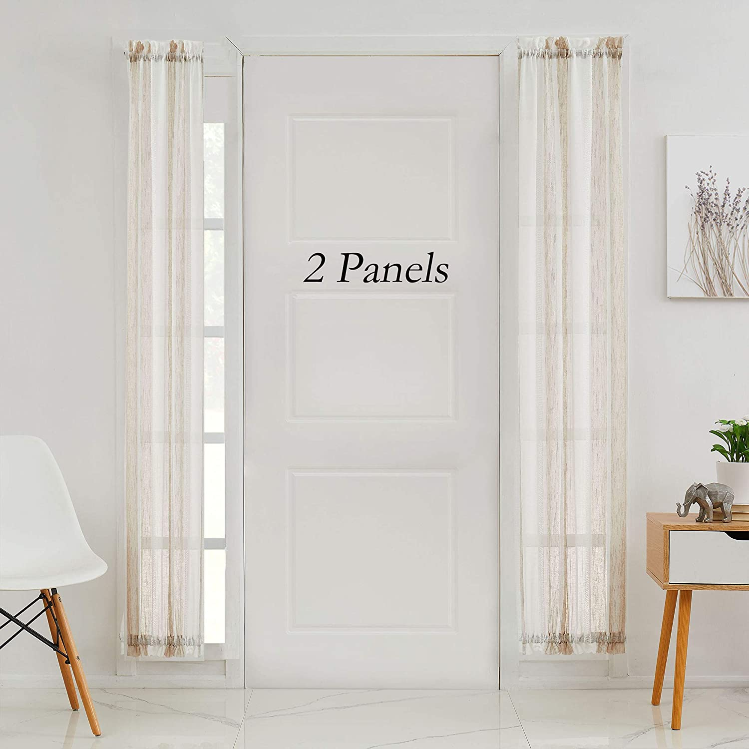 Central Park White French Door Curtain Beige Stripe Sheer Window Panels Boucle Linen Window Drapes Rod Pocket Yarn Dyed Woven Curtain for Living Room Rod Pocket (25