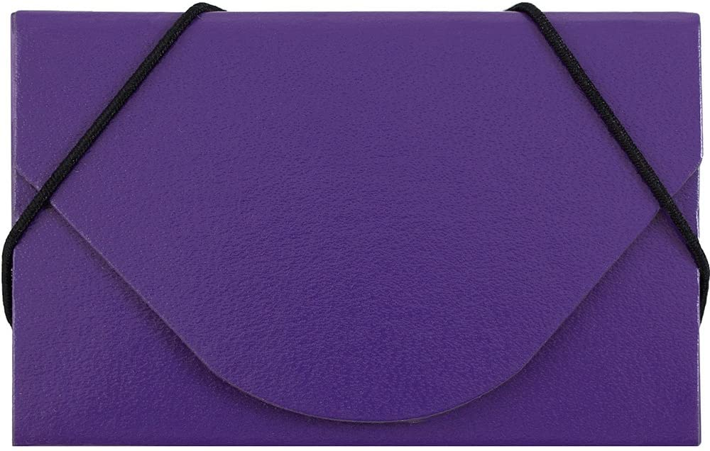 JAM PAPER Colorful Business Card Holder Case with Round Flap - Purple Chipboard - Sold Individually