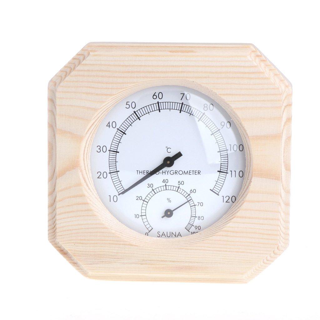 Vbiwwxos Wooden Thermometer Hygrometer Sauna Room Hygrothermograph Temperature Instrument