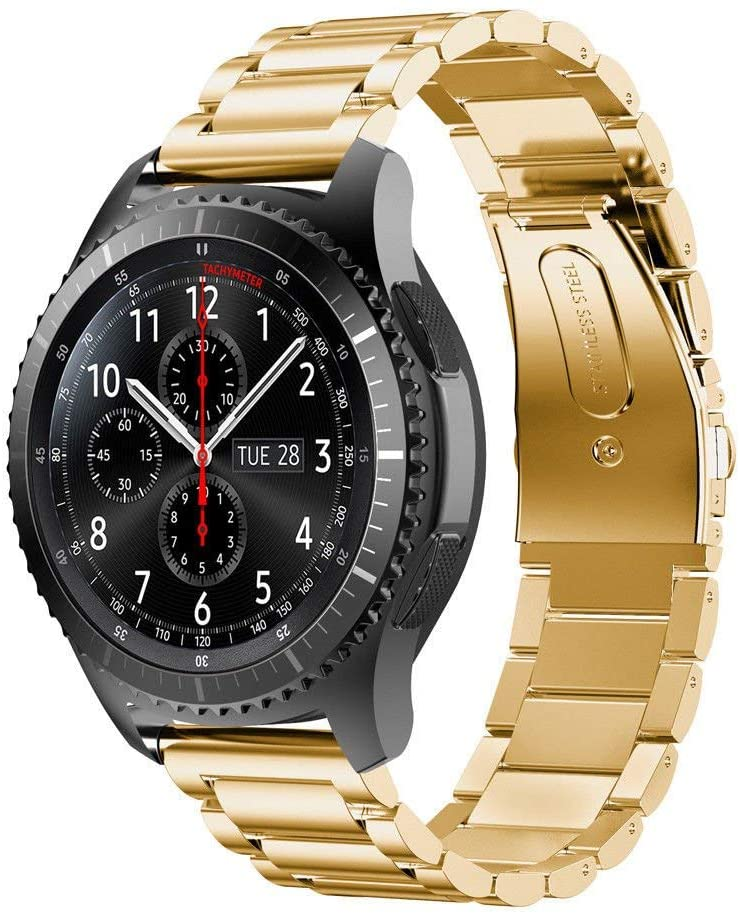 22mm Metal Band Compatible with Samsung Galaxy Watch 46mm Stainless Steel Bracelet with Folding Classic Buckle Replacement Strap for Huawei GT Watch