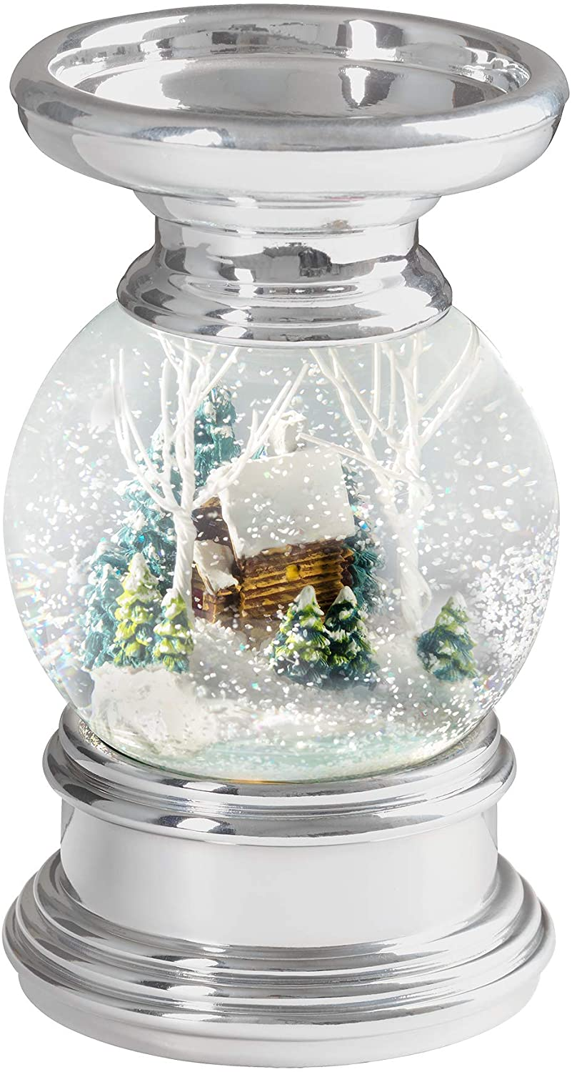 Haute Decor Snowburst 6.5 Inch Battery Operated Christmas Log Cabin Snow Globe Candle Holder with Built-in Timer, 3 Warm White LED's and Pulsing Snow Swirls for Pillar Candles up to 3.25