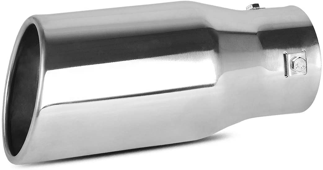 AUTOSAVER88 2.0 2.25 2.5 Inch Inlet Exhaust Tip, Chrome Polished Stainless Steel Exhaust Tip, Bolt On Design.