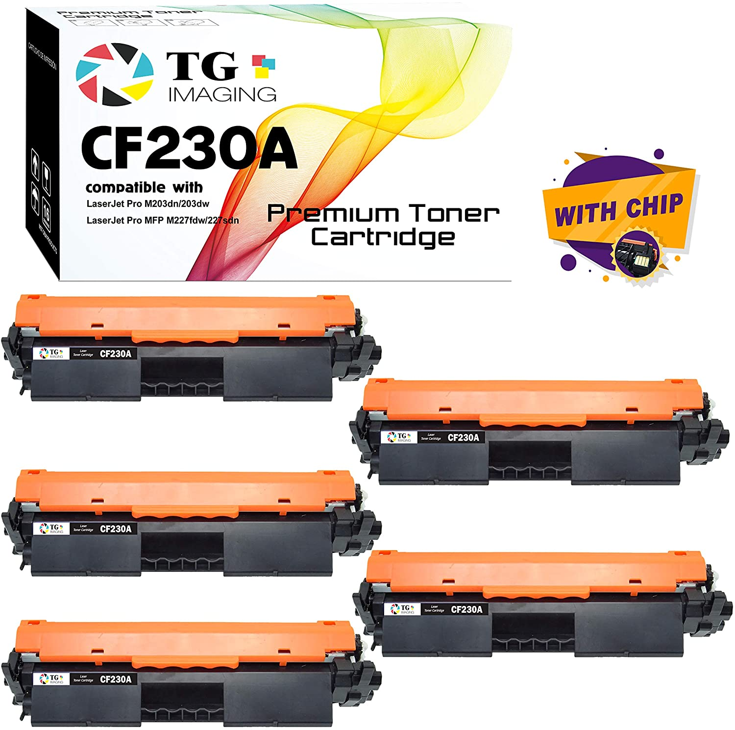 (5 Black Set) TG Imaging Compatible CF230A 30A Toner Cartridge CF230X for use in HP M227 M203 Printers (with Chip)