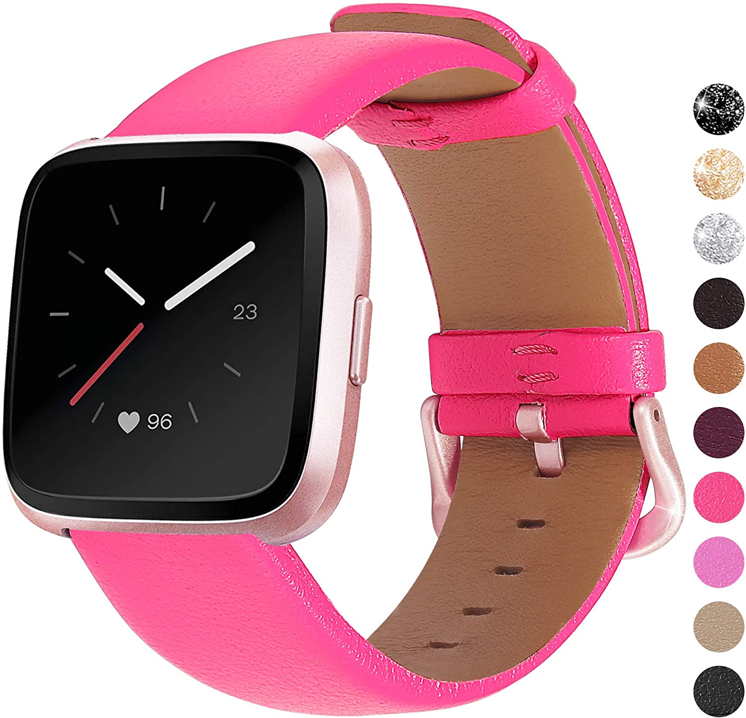 Mosstek Genuine Leather Bands Compatible with Fitbit Versa 2 & Versa 1 & Versa Lite & Versa Special, Genuine Leather Band Replacement Strap for Versa Women Men - Hot Pink