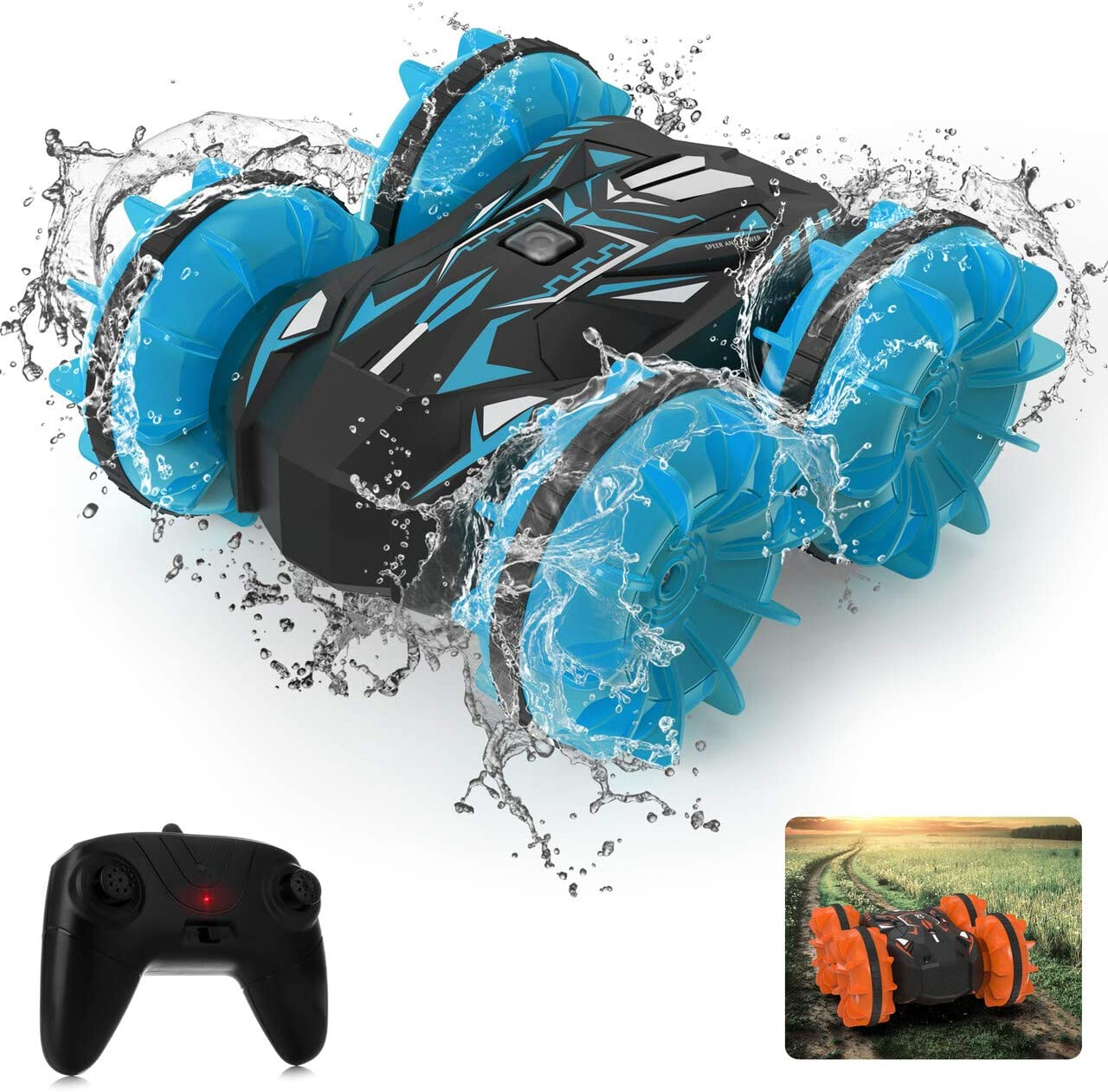 Waterproof Remote Control Car, 2.4Ghz Remote Control 4WD Double Sided Driving 360° Spinning, High Speed, 1:20 Scale, Pool Beach Land Stunt Toy Car for Kids Age 4-12 (Blue)