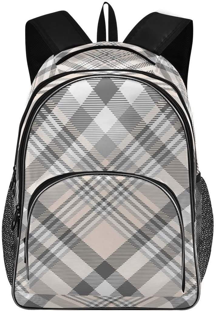 ALAZA Plaid in Pink Gray and White Travel Laptop Backpack Gifts for Men Women Fits 15.6 Inch Notebook
