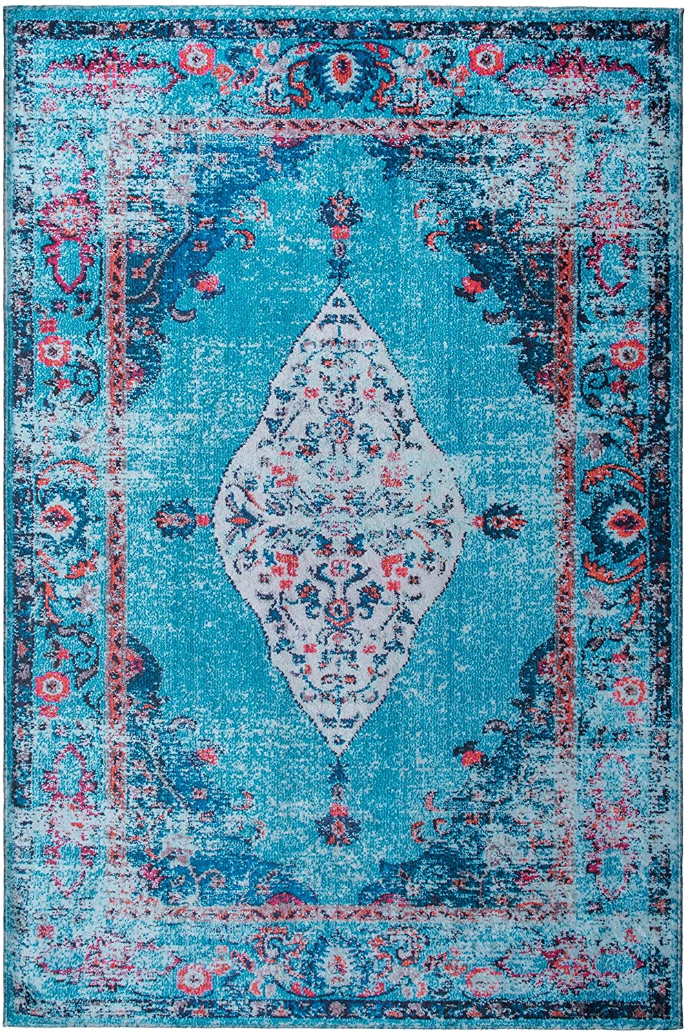 Mylife Rugs Traditional Vintage Non Slip Machine Washable Distressed Printed Area Rug, Turquoise Red 4'x6'