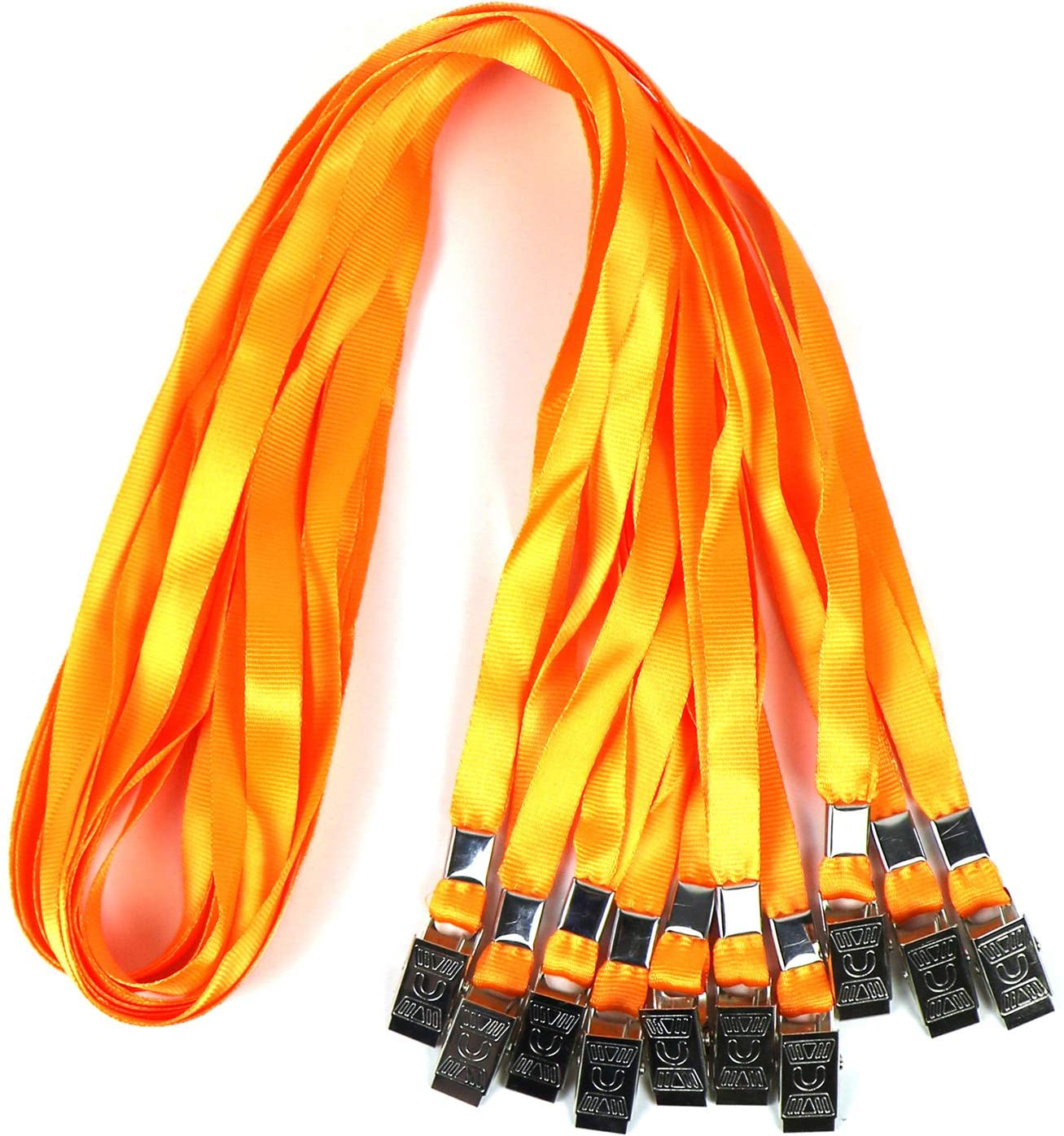 Lanyards for Id Badges Nylon Neck Flat Cruise Lanyard Bulldog Clips Durably Lanyards for Men Women Office ID Name Tags and Badge Holders (Orange, 50 Pack)