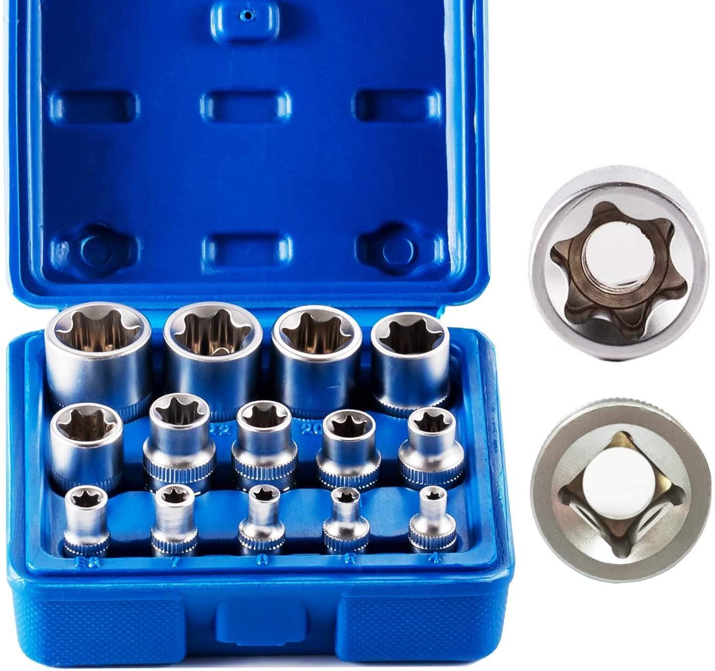 14PCS E Torx Star Female Bit Socket Set, E4 -E24 Female External Torque Star Socket Sets with Rail, 1/2