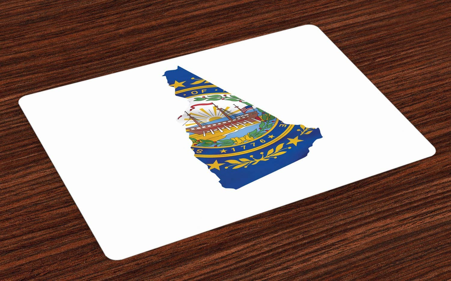 Lunarable New Hampshire Place Mats Set of 4, Granite State Flag as Map 9 Stars and Seal, Washable Fabric Placemats for Dining Room Kitchen Table Decor, Cobalt Blue Earth Yellow Multicolor