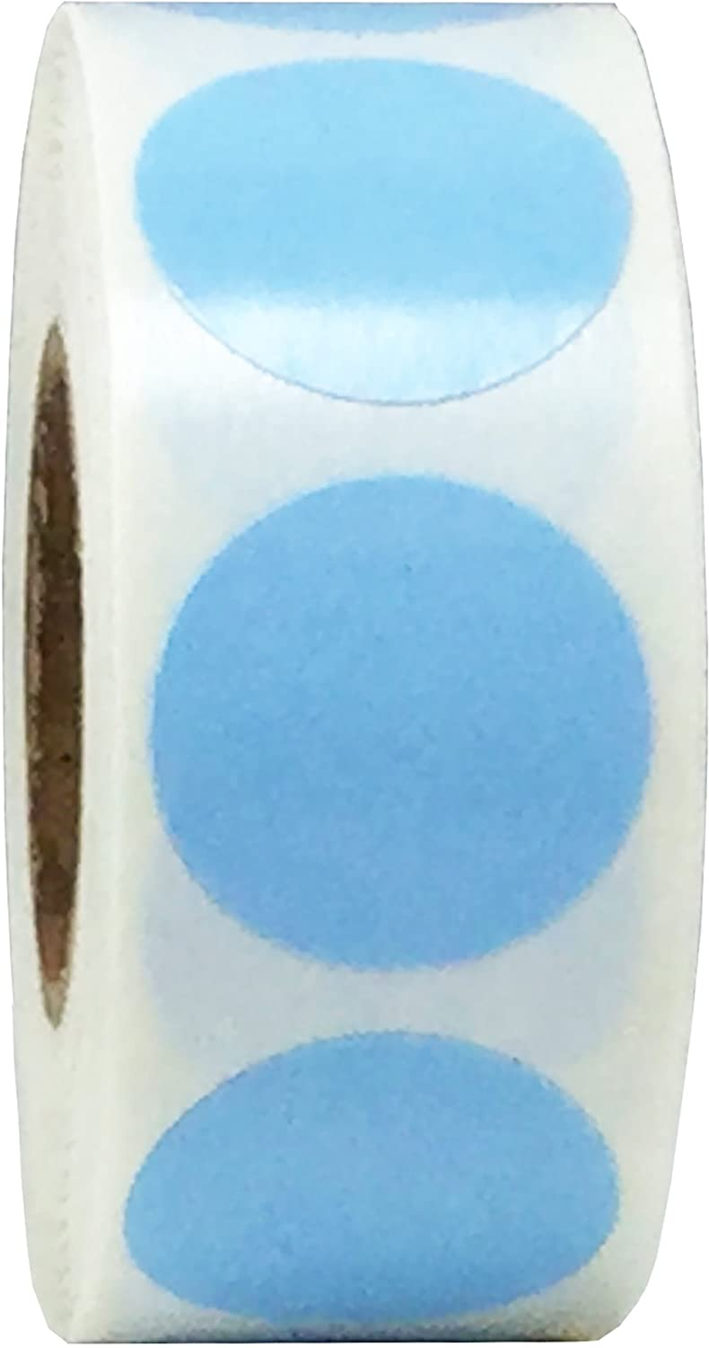 Baby Blue Color Coding Labels for Organizing Inventory 0.75 Inch Round Circle Dots 500 Total Adhesive Stickers On A Roll