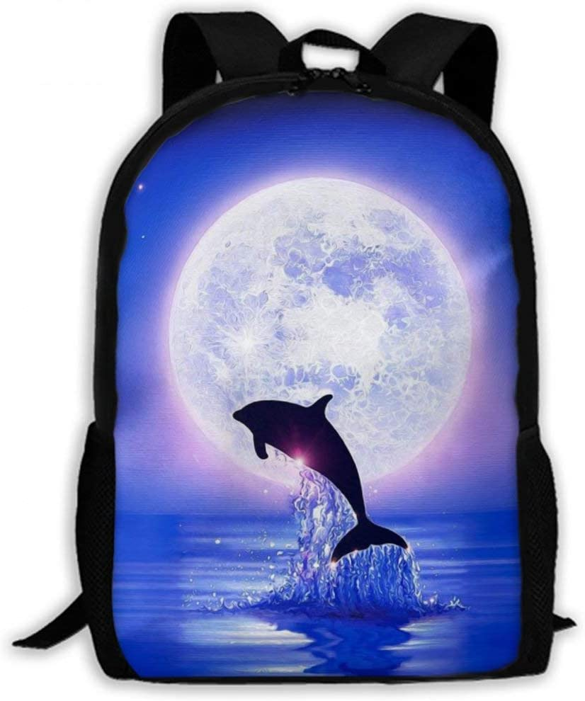 NiYoung Unisex Lightweight Business Travel Anti Theft Durable Laptops Backpack Large Capacity School College Rucksack Fashion Casual Daypack with Side Pockets, Full Moon Dolphin Purple Blue