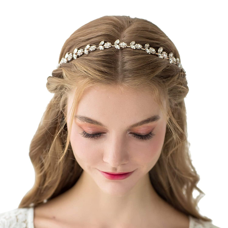SWEETV Rhinestone Bridal Headband Crystal Wedding Headpiece Gold Hair Accessories for Bride Bridesmaid Flower Girl
