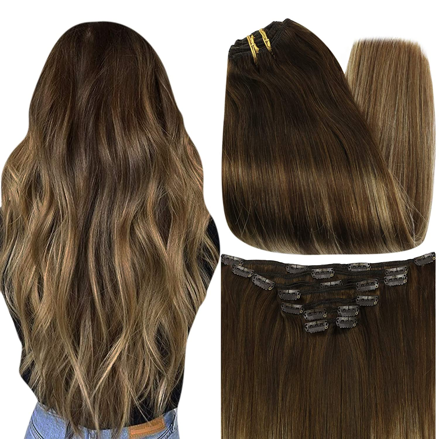 Full Shine Real Hair Clip Ins 18 Inch Clip In Hair Extensions Full Head Set Extensions Color 3 Dark Brown Fading to 14 With 6 Brown Brazilian Hair Extensions 7 Pcs 100 Gram Remy Clip on Hair