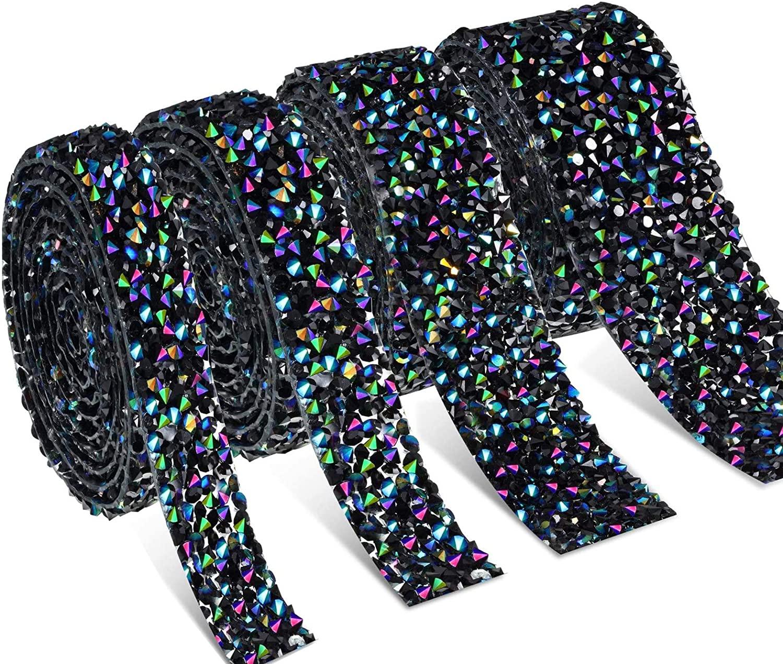 Dowarm 4 Yards Crystal Rhinestone Ribbon Wrap, Diamond Rhinestone Bling Wrap, Hotfix Bling Mesh Wrap, for Wedding Party Decoration, 4 Rolls in 4 Sizes (Black AB/Black Blue, 4 Yards Mixed 4 Sizes)