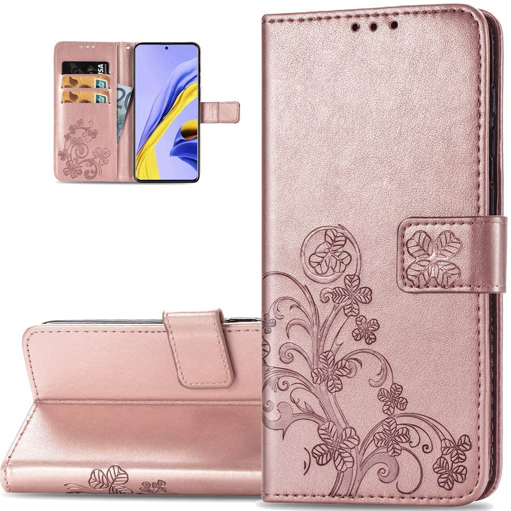 LEMAXELERS Galaxy A51 5G Case Embossed Lucky Clover Floral with Card Slots Magnetic Flip Stand Premium PU Leather Wallet Shockproof Protective Cover for Samsung Galaxy A51 5G Clover Rose Gold SD