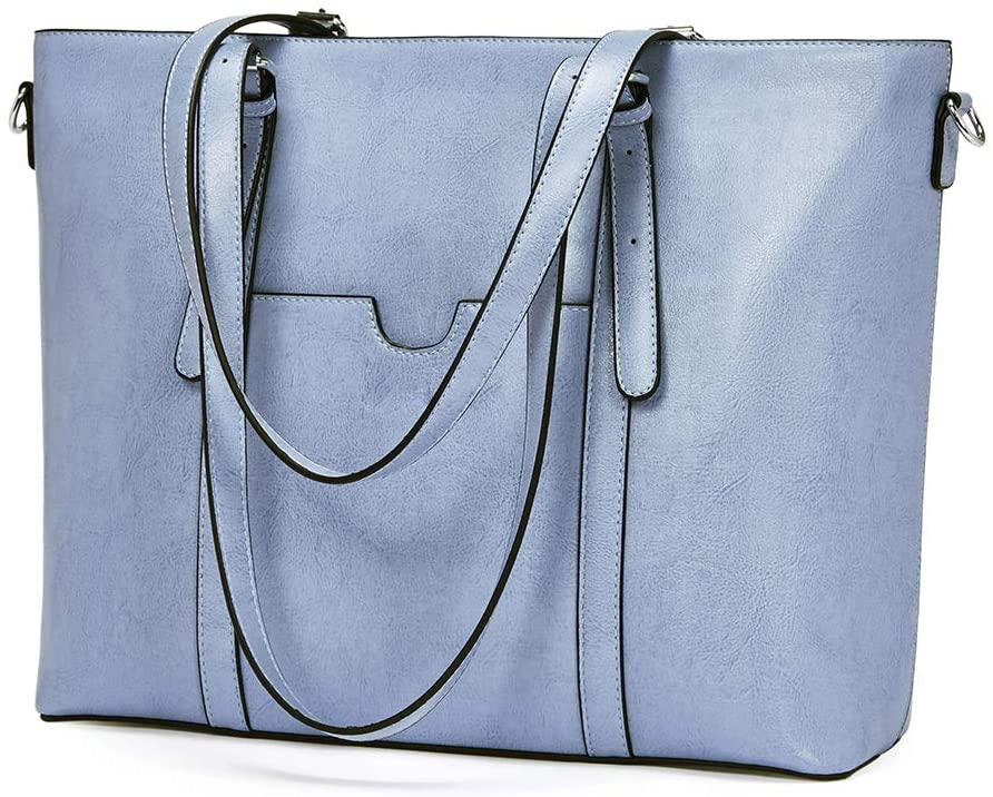 BROMEN Women Briefcase 15.6 inch Laptop Tote Bag Vintage Leather Handbags Shoulder Work Purses Oil Wax Blue