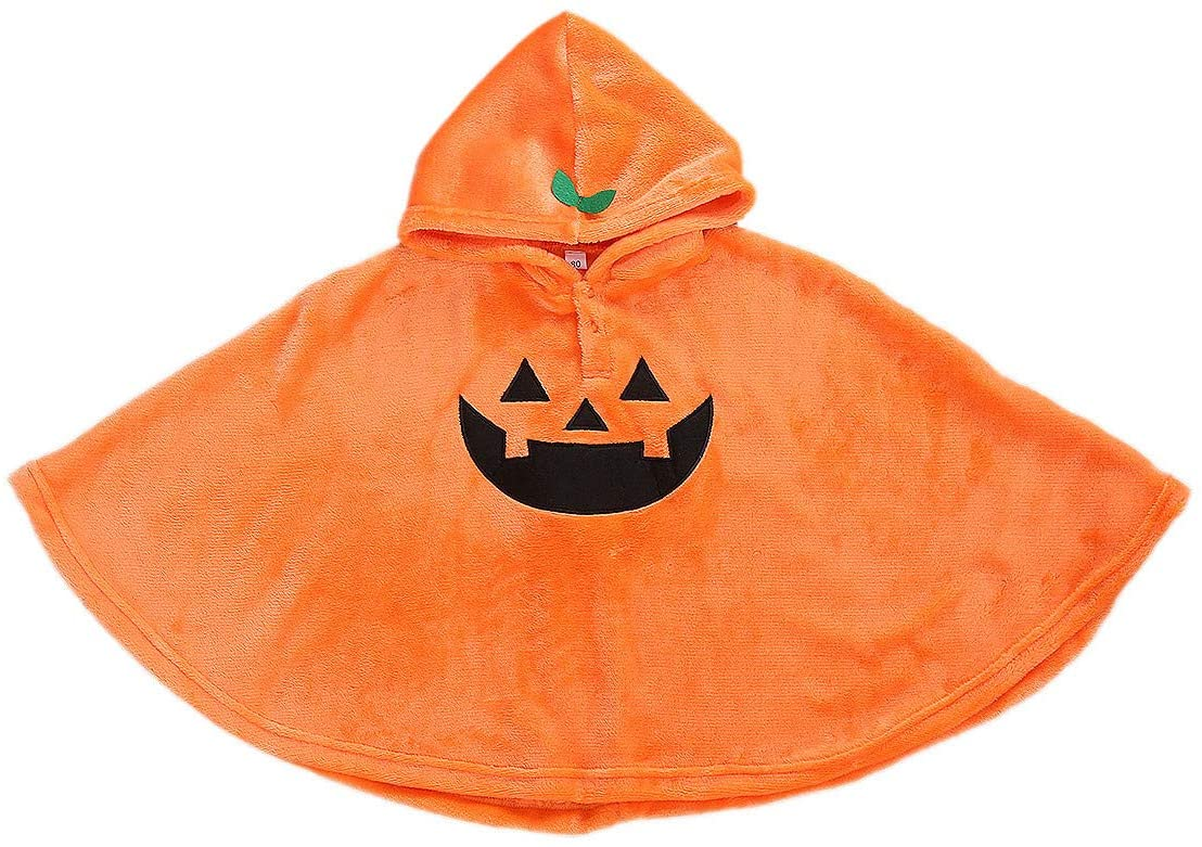 One Persent Toddler Girls Boys Halloween Costume Baby Kids Ghost Cloak Poncho Robe Cape Scary Fanny Dress Cosplay Clothes (2-3 T, Orange)
