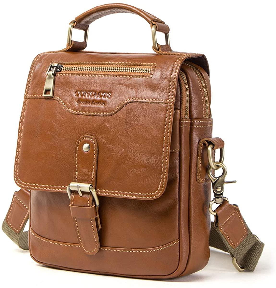 Contacts Genuine Leather Mens College School Travel Messenger Crossbody Shoulder Bag