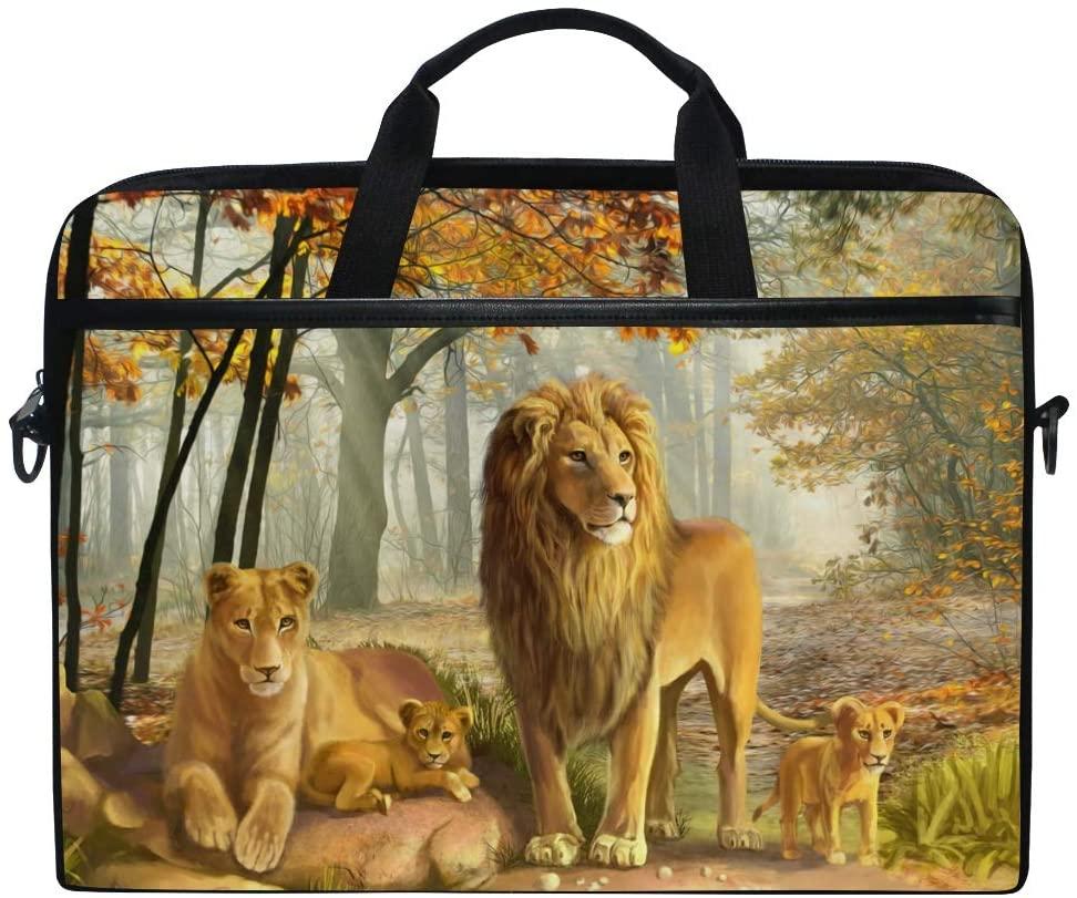 Laptop Bag Briefcase Wild Lion Shoulder Messenger Tablet Bag Business Carrying Handbag Working Computer Bag Fit 15-15.4 inch MacBook