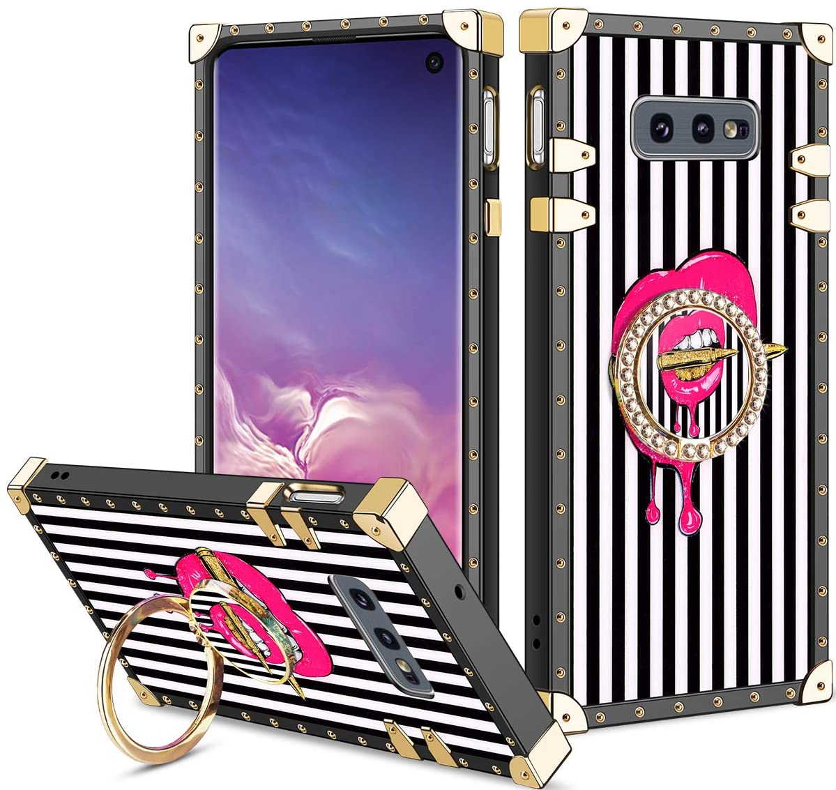 Vofolen Cover for Galaxy S10e Case Ring Holder Kickstand Exotic Colorful Square Diamond Rivet Protective Soft Shell Fold-able Clip Anti-Slip finger Loop for Samsung Galaxy S10e Black White Bullet Lips