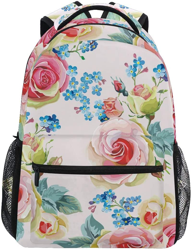 ALAZA Vintage Pink Rose Flower Floral Large Backpack Personalized Laptop iPad Tablet Travel School Bag with Multiple Pockets
