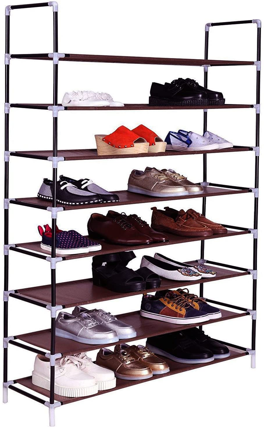 Fxionicon Shoe Rack Organizer Non-Woven Fabric Metal Sturdy Shoe Shelf Storage Cabinet Closets Stackable Shoe Holder Tower for entryway,8 Tier (Brown)