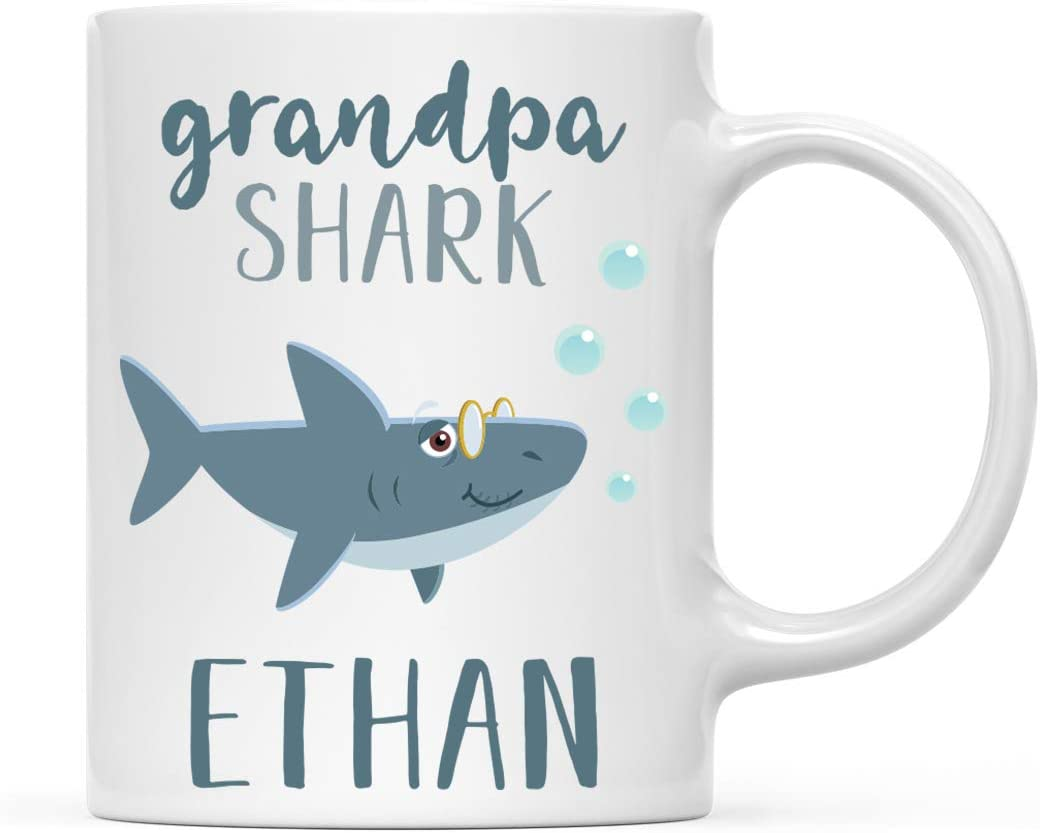 Andaz Press Personalized Name Baby Shark Family 11oz. Coffee Mug Gift, Grandpa Shark, 1-Pack, Custom Customizable Shark Do Do Do Gift Idea Birthday Christmas Gifts for Grandpa