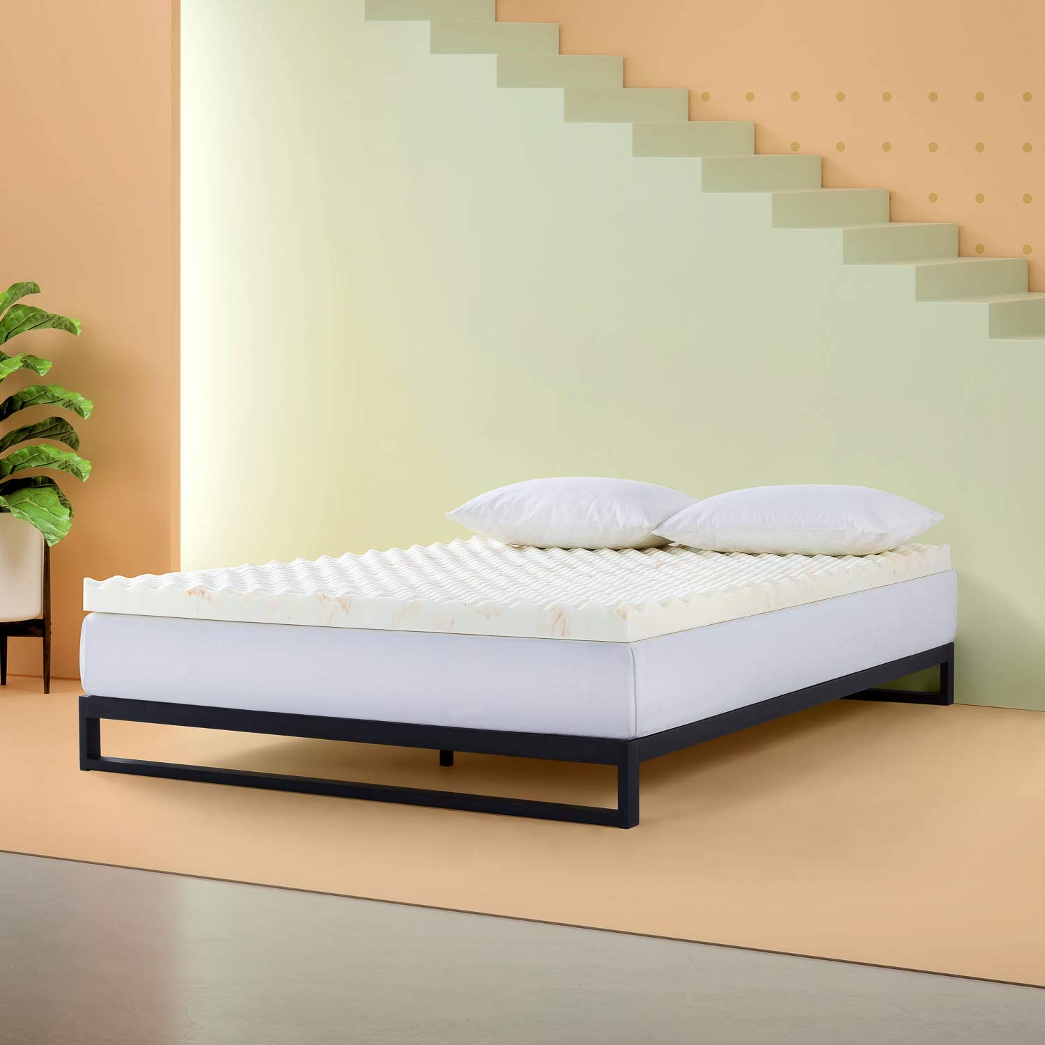 ZINUS 3 Inch Swirl Copper Cooling Memory Foam Mattress Topper/Antimicrobial & Odor Resistant/Airflow Design, King